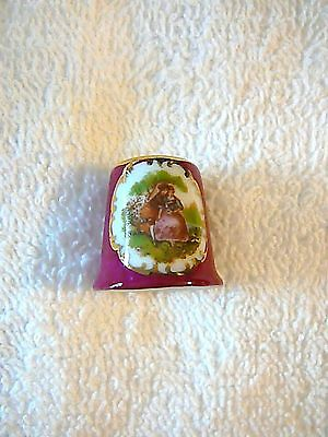 Handpainted Limoges France Burgundy Fine Bone China Thimble with Gold Trim, MINT