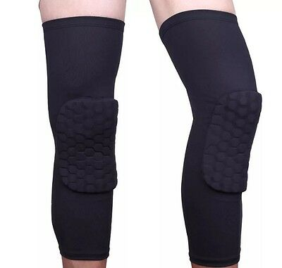 One PAIR Unisex Kids/Mens SIZE LARGE Black Honeycomb Basketball Knee Pads