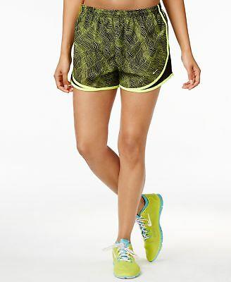 Nike Women's Dri-fit Printed Tempo Running Shorts Volt/Black Small NWT MSRP $34