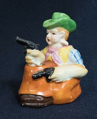Vintage Cowboy and Gun Nodder Salt and Pepper Shaker - Made in Japan Patent T.T.