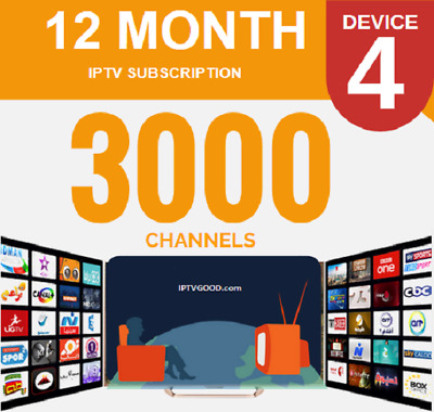 Perfect IPTV 3000+ channels + VODs stable 1 year subscription all devices