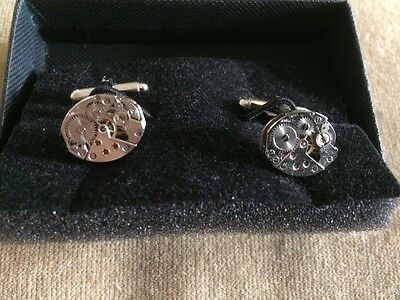 Steampunk Small Clock Mechanism Cufflinks