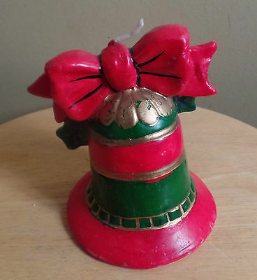 Vintage SIMPSONS' Red & Green Christmas BELL Wax CANDLE~Never Used!