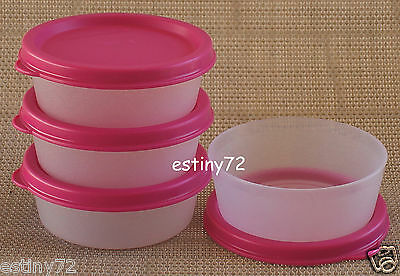 Tupperware Mini Snack Cups / Small Rounds Set (4) Sheer & Fuchsia Pink New