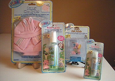 Webkinz Bunny Hoody Set Pink Poodle Body Spritz Lip Gloss All Code Sealed Ganz