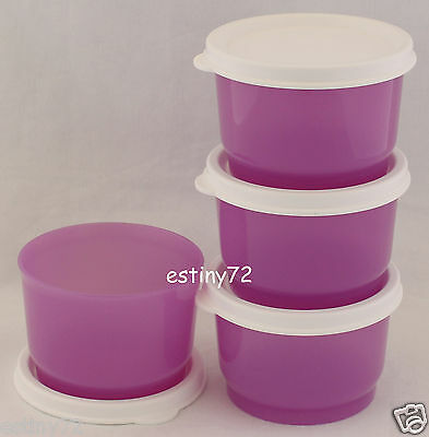 Tupperware Everyday Kids Snack Cups Set (4) Orchid Purple & Snow White New