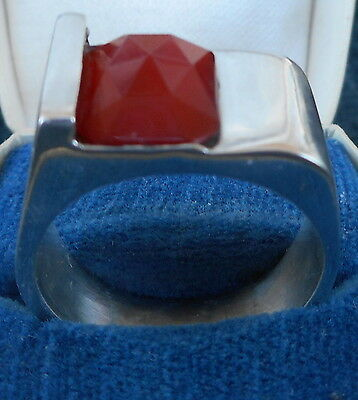 VINTAGE! GERMAN STERLING SILVER RING with CARNELIAN