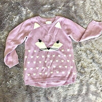 Toddler Girl Purple Cat Sweater Size 4T