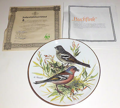 """""""Songbirds of Europe""""-Chaffinch Decorative Plate by Ursula Band-Made in Germany"""