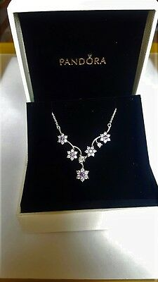 Pandora Forget Me Not  Sterling Silver Necklace S925 ALE  with BOX