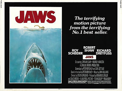 """Jaws 1975 16"""" x 12"""" Reproduction Movie Poster Photograph"""