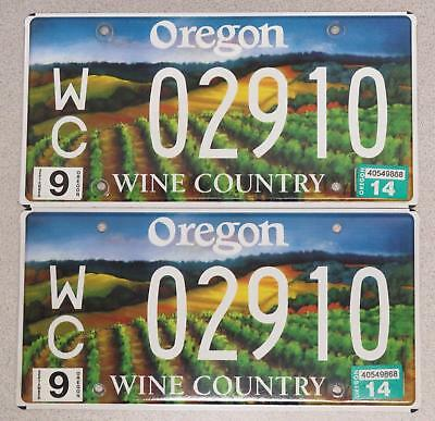 Oregon License Plate Pair - Wine Country