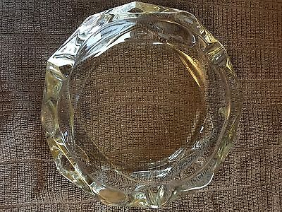 Large Clear Glass Vintage Ashtray, Heavy Duty, Hexagon Shape