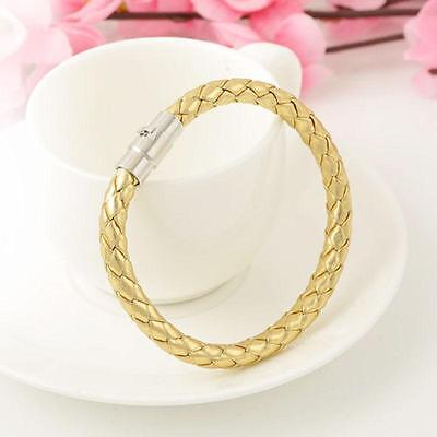 Ladies Gold Leather Braided Bracelet Wristband Magnetic