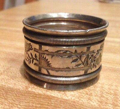 Antique Silver Plated Napkin Ring Flower, Butterfly, Bird & Fence Pattern