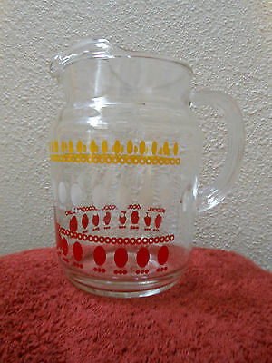 Vintage Retro Glass Pitcher 1 1/4 Quart in Yellow and Red