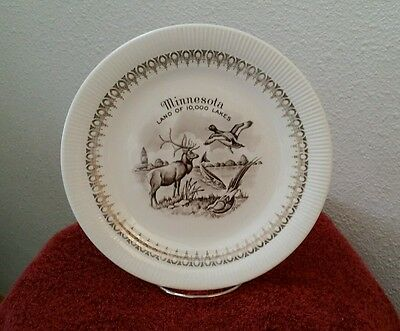Minnesota MN Plate Land of 10,000 Lakes with 22k Gold Trim Features MN Wildlife