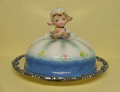 Vintage Lefton Dutch Girl Butter Dish Cover w/Vintage Plate (Silver Plated)
