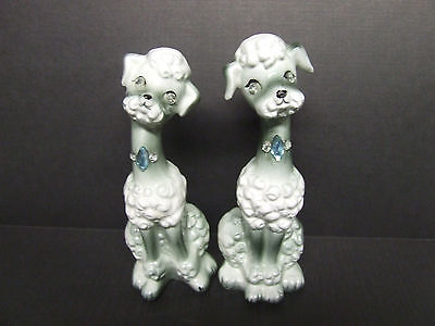 Vintage Dogs/Poodles w/Rhinestone Eyes Salt & Pepper Shakers (Japan)