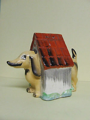 Vintage Dog/Dachshund/Weiner Dog in Dog House Salt & Pepper Shakers