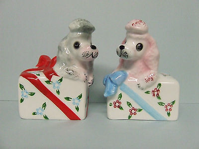 Vintage PY Poodles/Dogs Popping out of Presents Salt & Pepper Shakers (Japan)
