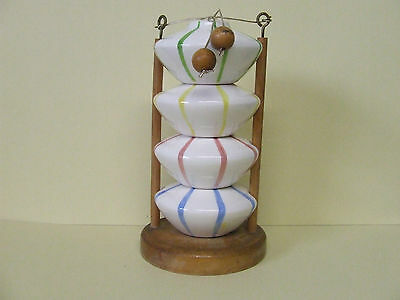RARE Vintage Holt Howard Stacking Seasons Shakers w/Wooden Base (Japan/1950's)