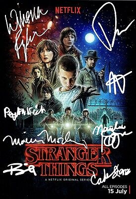 Stranger Things -Cast Signed x8. Winona Ryder, David Harbour, Millie Bobby Brown