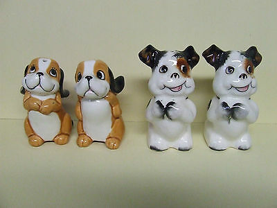 Vintage Smiley Playful/ Begging Puppy Dogs Salt & Pepper Shakers
