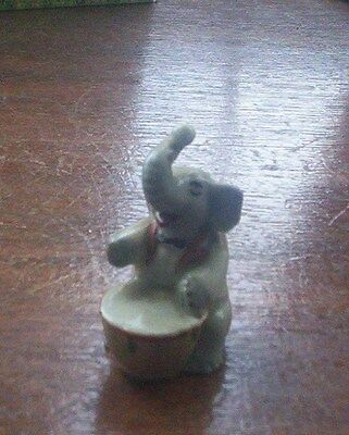 Lovely Rare Vintage Collectable Wade Trunky Elephant Playing Drum 1957
