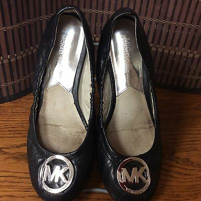 Michael Kors Ladies Ballet Flats Size 5.5 Medium Width, Leather, Black. F6