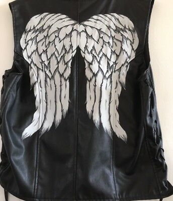 SOLD OUT THE WALKING DEAD Daryl Dixon Black Faux Leather Vest w Wings NWOT OS