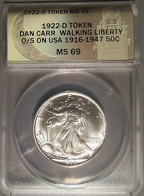 1922 D Daniel Carr Walking Liberty Half Dollar Overstrike Token, ANACS MS 69