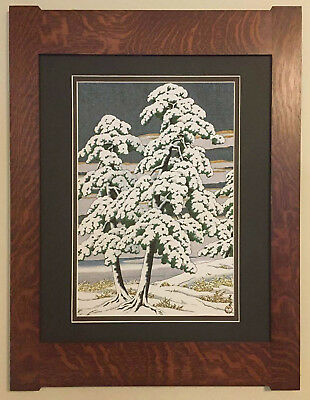 Mission Style Bungalow Quartersawn Oak Arts & Crafts Framed Print- Snowy Pines