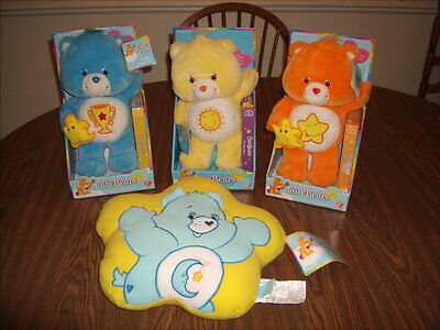 "3 Care Bear 14"" BEARS Champ - Funshine & Laugh A Lot with VHS NEW + Pillow"