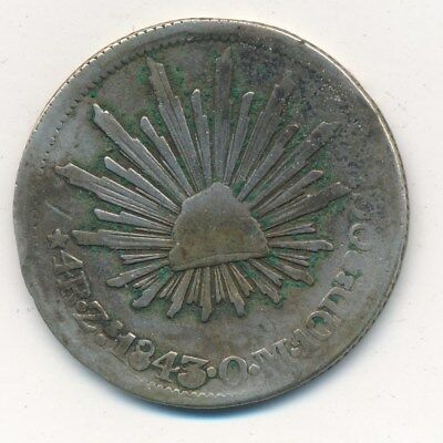 1843 Zs O.M. MEXICO SILVER 4 REALES-BEAUTIFUL CIRCULATED COIN! SHIPS FREE!