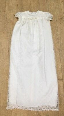 70's Vintage Long White Christening Gown Dress Lace Nylon Beautiful Short Sleeve