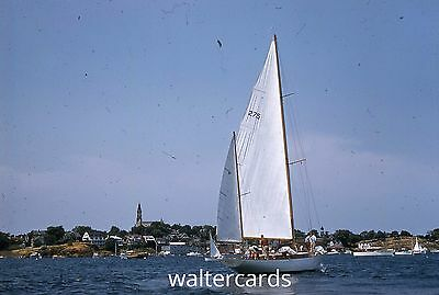 KODACHROME Red Border Slide 1950s Sailboat Boat Water Clouds Scenic Europe ?