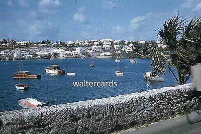 KODACHROME Red Border Slide 1950s Europe ocean harbor lots of boats ships