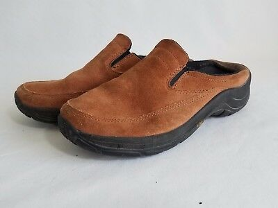 L.L. Bean Women's Brown Suede Leather Slip On Clogs Size 9 Shoes