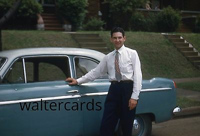 KODACHROME Red Border Slide 1950s Handsome Man Classy Fashion Old Vintage Car