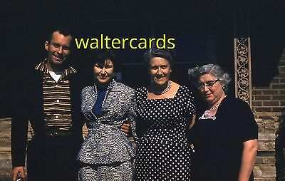 KODACHROME Red Border Slide 1950s People Handsome Man Women Woman Fashion