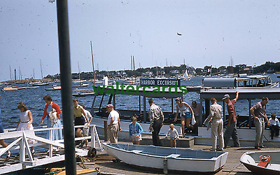 KODACHROME Red Border Slide 1950s Fashion Lots of People Harbor Cruise Boats