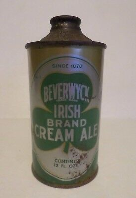 Vintage 1930's Beverwyck Irish Brand Cream Ale IRTP Low Pro Cone Top Beer Can