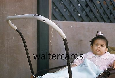 KODACHROME Red Border Slide 1950s Cute Pink Sweater Fashion Baby Girl Stroller