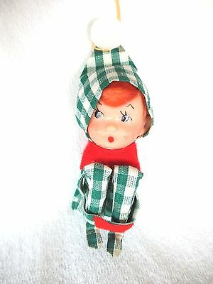 Tiny Vtg Xmas Kneehugger Elf/pixie Ornament---Rare Plaid Clothes--Japan