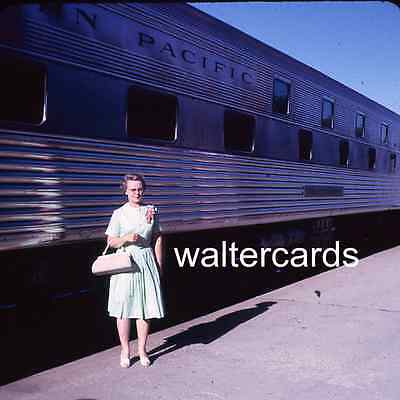 SQUARE slide 1965 1960s Northern Pacific Train at Station Woman Dress Purse