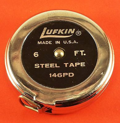 Vintage Round Lufkin 6' Tape Measure Locks With Push Button Release 45 mm Dia.