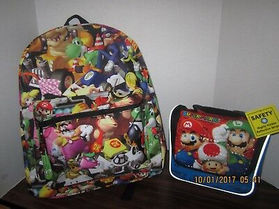 Super Mario Bros Brothers Yoshi Luigi & Friends Backpack Lunchbox Book Bag NEW