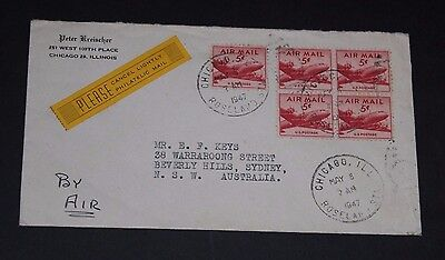 USA 1947 5c PLANES MULTI FRANKED  FIRST DAY COVER TO AUST