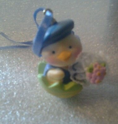 Easter Ornament 1 3/4 Inch Plastic Chick In Egg Blue Cap With Flowers